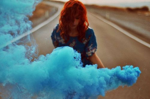 turquoise colored smoke