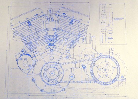 Harley Davidson 74 ci Engine 2 Sheets Blueprint by BlueprintPlace - new blueprint background image