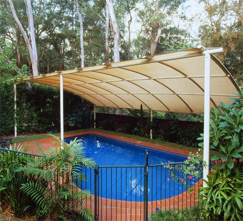 Curved Shade Structure For Pool.