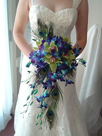 Blue Orchid Cascading Bouquet With Peacock Feathers