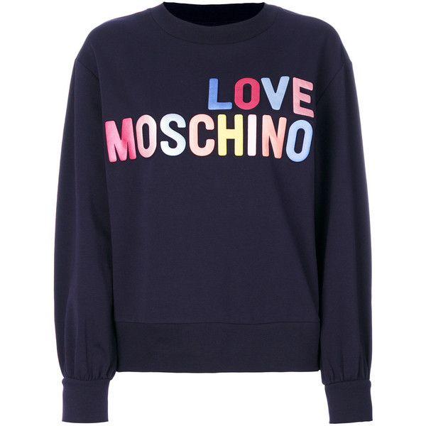 66457e212b75c2 Love Moschino logo print sweatshirt (€150) ❤ liked on Polyvore featuring  tops