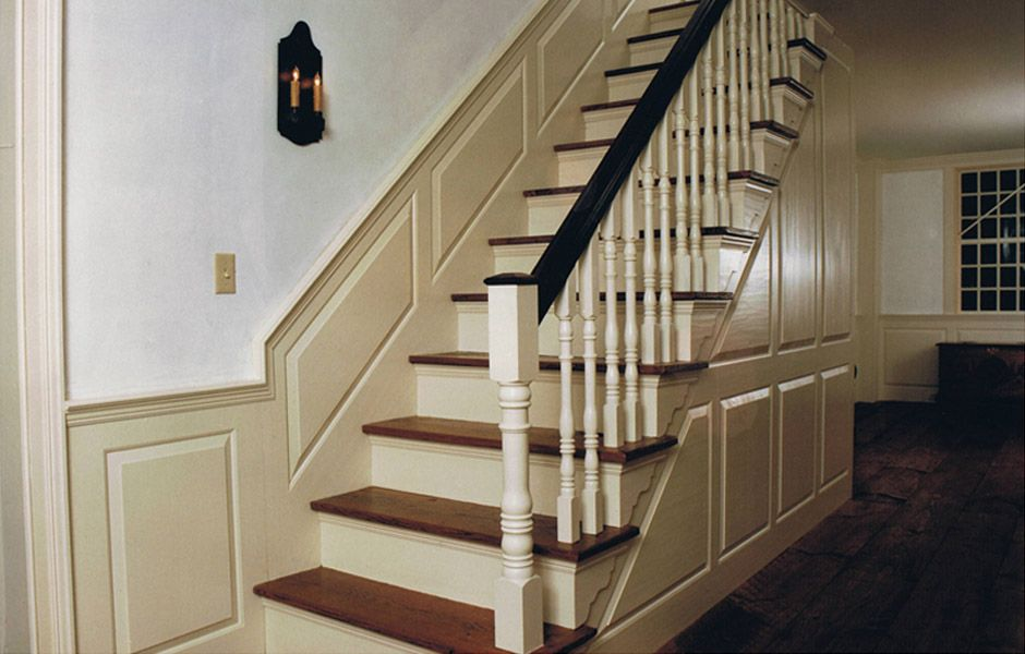 Cape CodColonial Staircase Raised Paneling White Wash