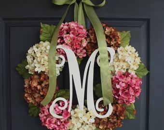 Photo of SALE!!  HYDRANGEA Wreath, Eucalyptus Wreath, Wreath with Greenery, Turquoise Blue Wreath, Door Wreath,  Wreaths
