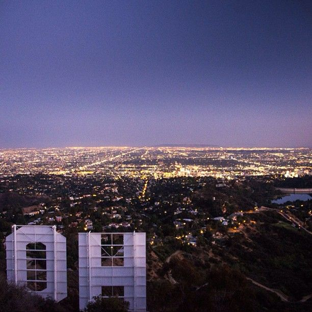 Hollywood Sign At Night Sky Lights Summer