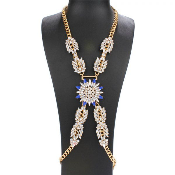 Wholesale Fashion Faux Sapphire Rhinestone Gold Plated X-Shape Body Chain For Women In Blue | TrendsGal.com