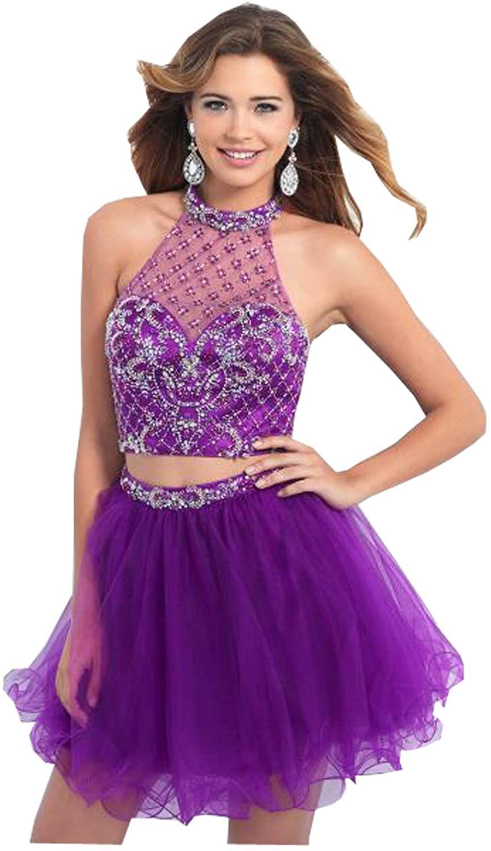Kelaixiang Custom Made Jewel Halter Short Purple Prom Dresses Rhinestone Clothing Purple Prom Dress Short Purple Prom Dress Short Cocktail Dress [ 1500 x 866 Pixel ]