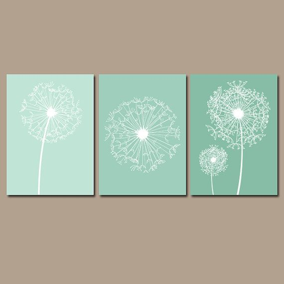 DANDELION Wall Art Seafoam Green Bedroom Canvas Or By TRMdesign