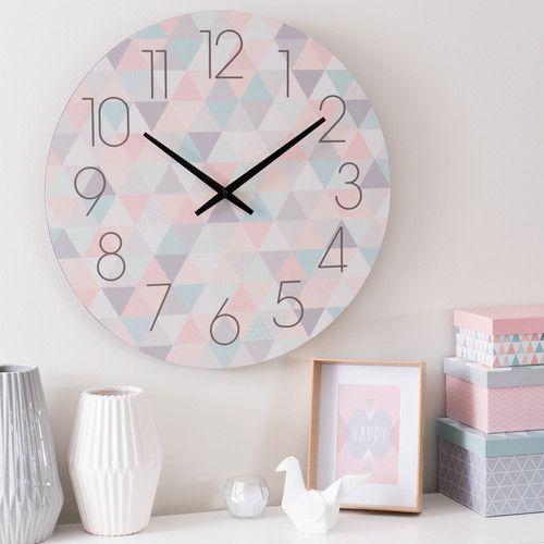 horloge en bois pastel d 50 cm zoÉ contemporain
