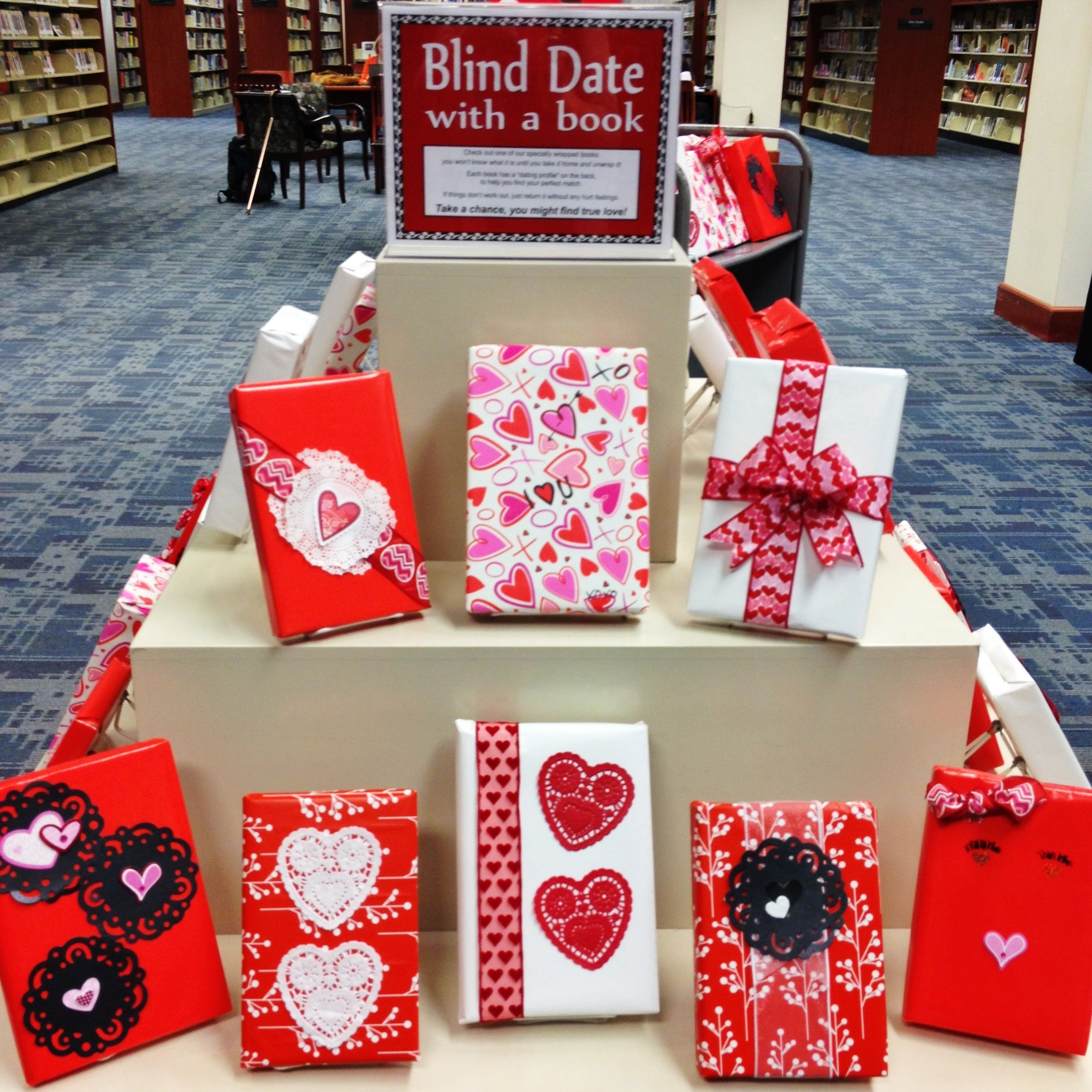 Valentine\'s Display for Library. Blind date with a book. | Book ...