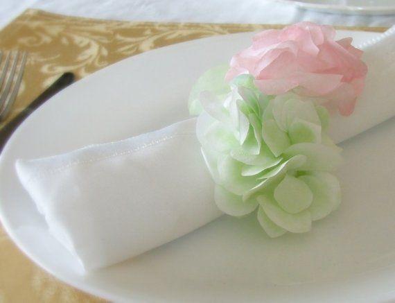 Sale  Paper Hydrangea Poms Napkin Rings Set by TreasuredEditions