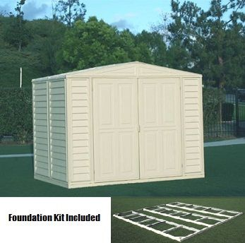 Duramax 00384 Vinyl Shed And Foundation On Sale Free Shipping Plastic Storage Sheds Vinyl Sheds Vinyl Storage Sheds
