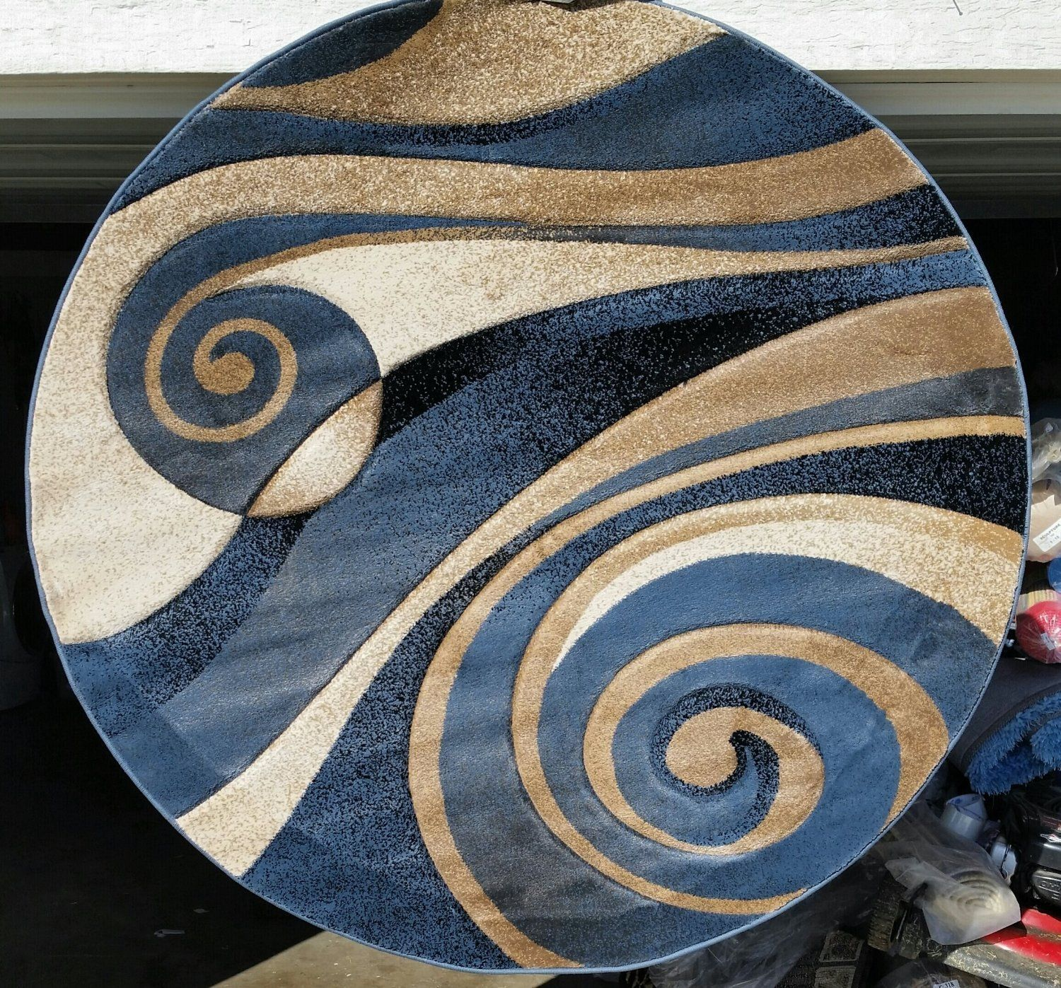 modern round area rug complete with a beige brown and blue  - modern round area rug complete with a beige brown and blue sculpturedesign
