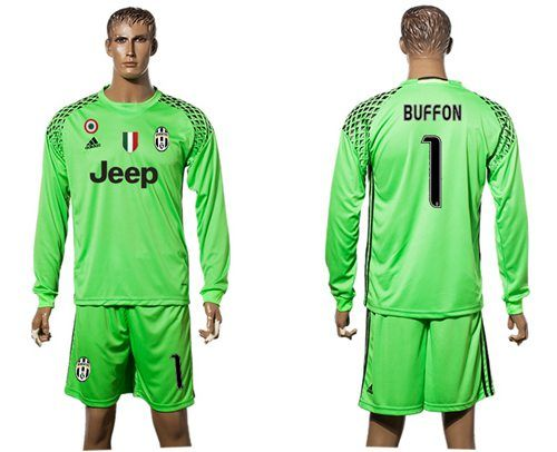 hot sale online 62226 1d452 Juventus #1 Buffon Green Goalkeeper Long Sleeves Soccer Club ...