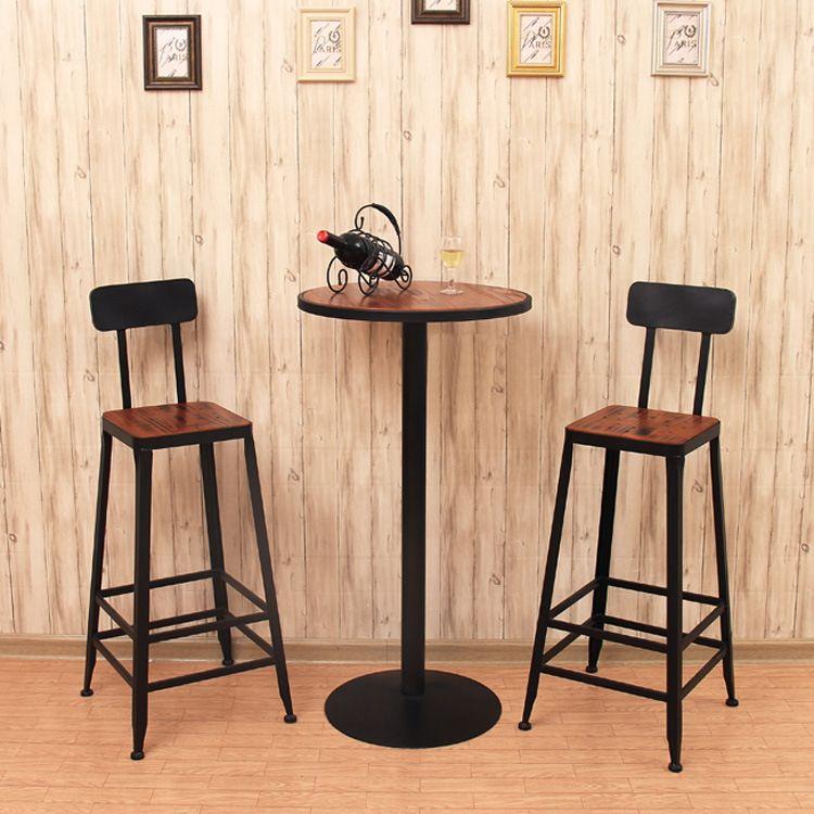 Beau American Iron Wood Loft Bar Chair Backrest Simple Retro Casual Starbucks  Tall Bar Chairs Bar