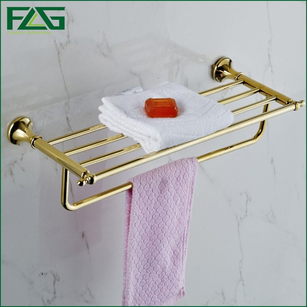 FLG Hotel Style Bathroom Accessories Gold Color Double Towel Rack ...