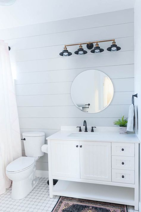 grey and white bathroom renovation reveal misc pinterest rh pinterest com Bathroom White Design Black and Grey Bathroom Tile
