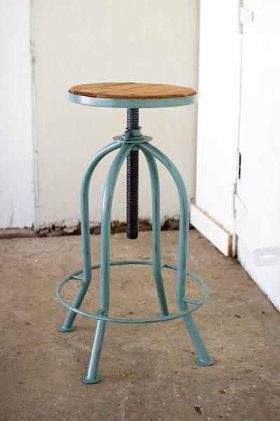 Adjustable Bar Stool With Recycled Wood With Images Rustic Bar