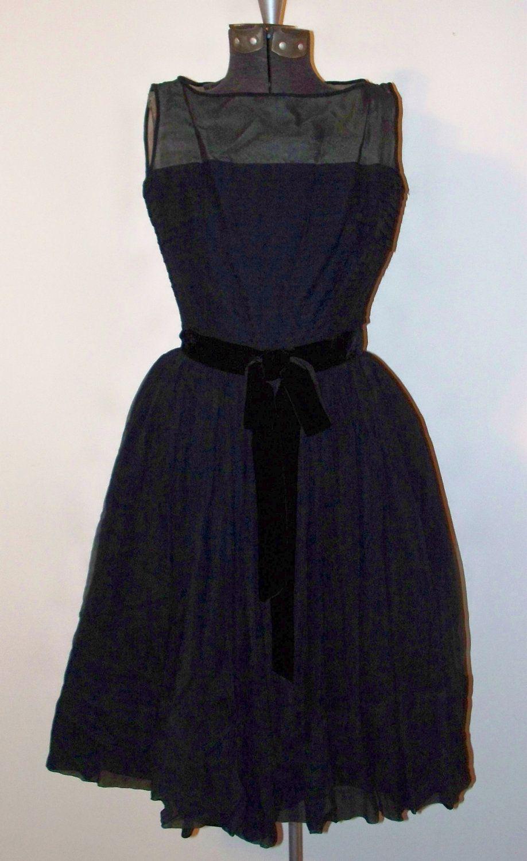 Vintage Black Dress Velvet Bow and Sexy See Through Shoulders Jonathan Logan Mid Century Fashion Little Black Dress w Underskirt by OffbeatAvenue on Etsy