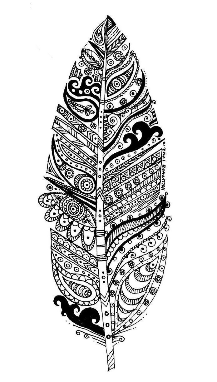 Free coloring pages of peacock feathers coloring everyday printable - Free Coloring Page Coloring Adult Leave And Patterns A Big Leave To Color With Zentangle Patterns