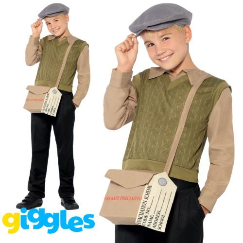 Boys Wartime School Boy Costume  Kids 9-10 Years WW2 Fancy Dress Book Day Outfit