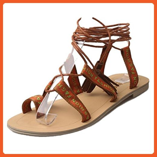 Women Gladiator Summer Boots Strappy Bandage Tassel Clip Ring Toe Flat Sandals