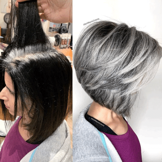 Mind Blowing Hair Transformation Before After Photos Gallery Blending Gray Hair Hair Styles Grey Hair Transformation
