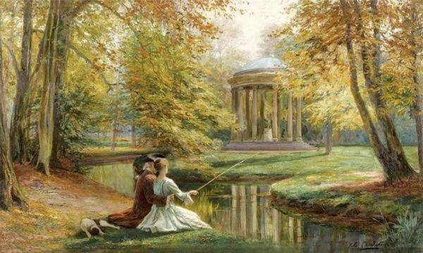 Le Temple De L Amour Et Le Petit Trianon Peinture De Jules Girardet Source Tumblr Com Landschap Frankrijk Barok