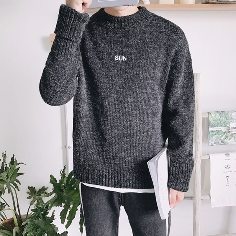cfaa3b75a4527 compare prices men sweater student korean style 2017 new winter male sweater  solid color casual loose  letter  sweater
