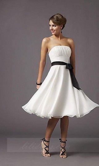 White A-Line 735,Tube Chiffon Prom Dresses
