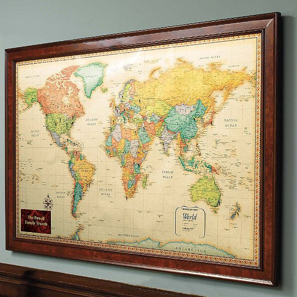 Wedding Gift To My Husband Needs A Prominent Spot For All See And Be Able Use The Magnetic Pins World Travel Map With Burlwood Frame