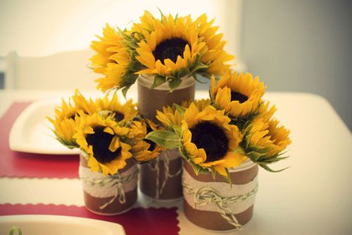 Sunflower Centerpieces For Baby Shower : Strawberry shortcake baby shower jars sunflower