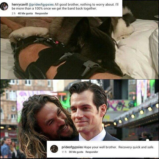 """Jason Momoa @prideofgypsies le mando saludos a @henrycavill a través de IG después de enterarse del accidente que sufrio el actor en su pierna. """"Espero que estes bien hermano. Recuperación pronta y segura"""" a lo que Henry le respondio """"Todo bien hermano, nada de que preocuparse. Estare al 100% una vez que la banda este de regreso"""" #HenryCavill #JasonMomoa #Superman #Aquaman"""