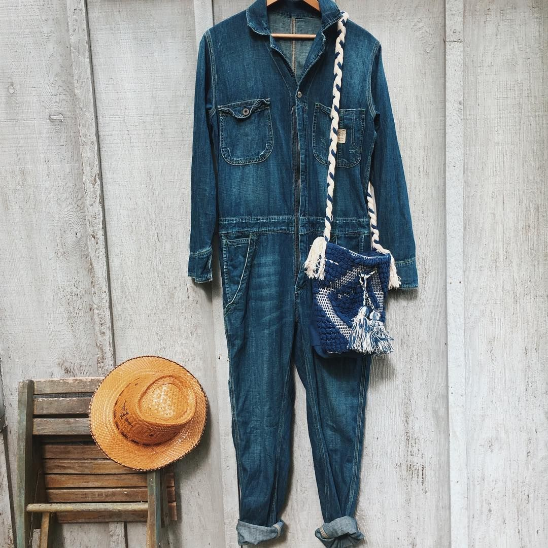 8419090ad75 RRL 1967 Collection Denim Jumpsuit total score!   perfect straw hat and  indigo bag