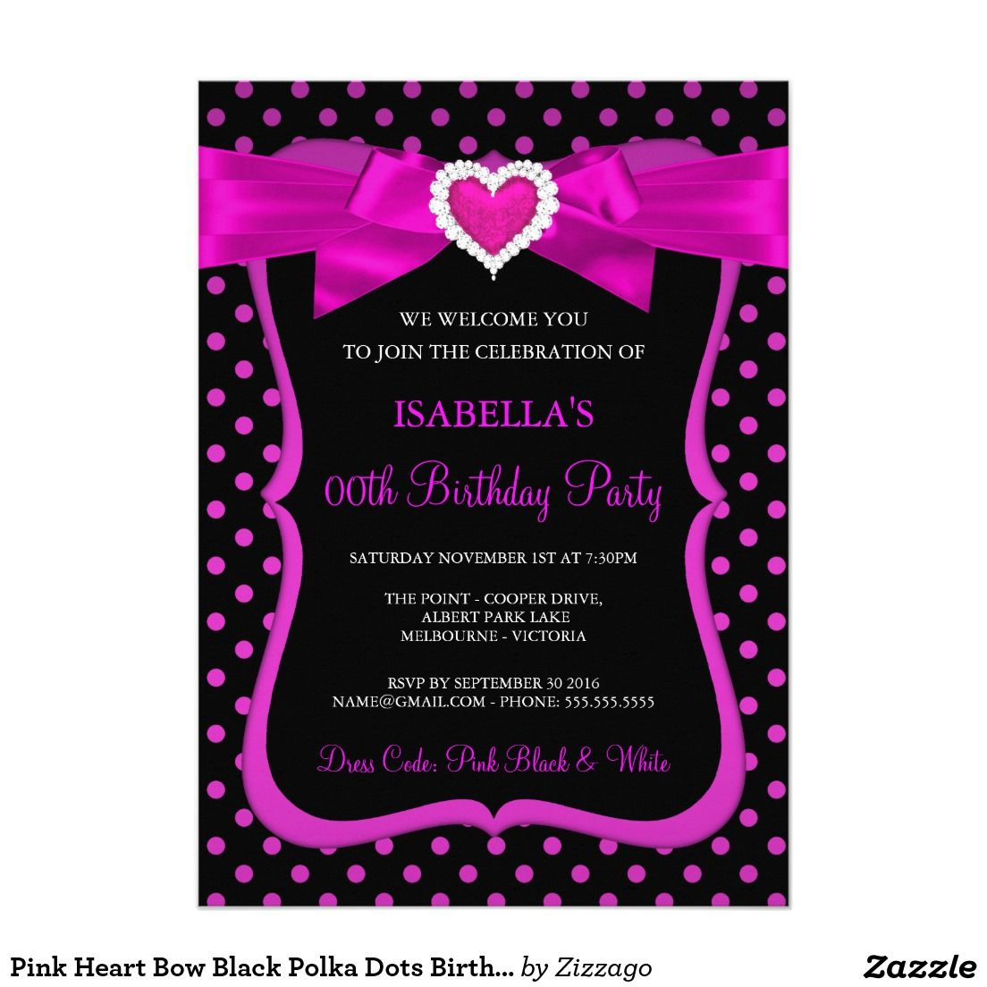 Pink Heart Bow Black Polka Dots Birthday Party Card | Etiket ...