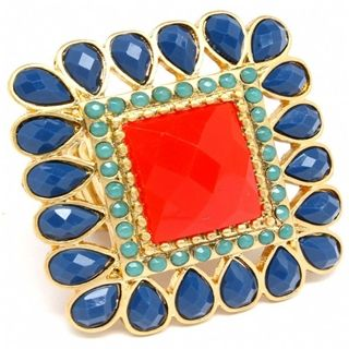 navy, coral and turquoise ring