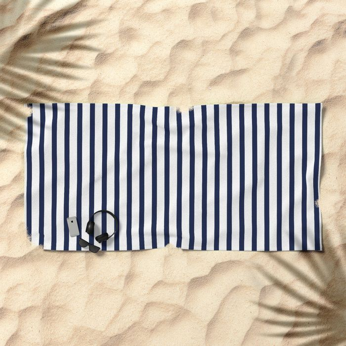 Beach Towel Beach Towel Indigo Navy Blue Vertical Stripes By