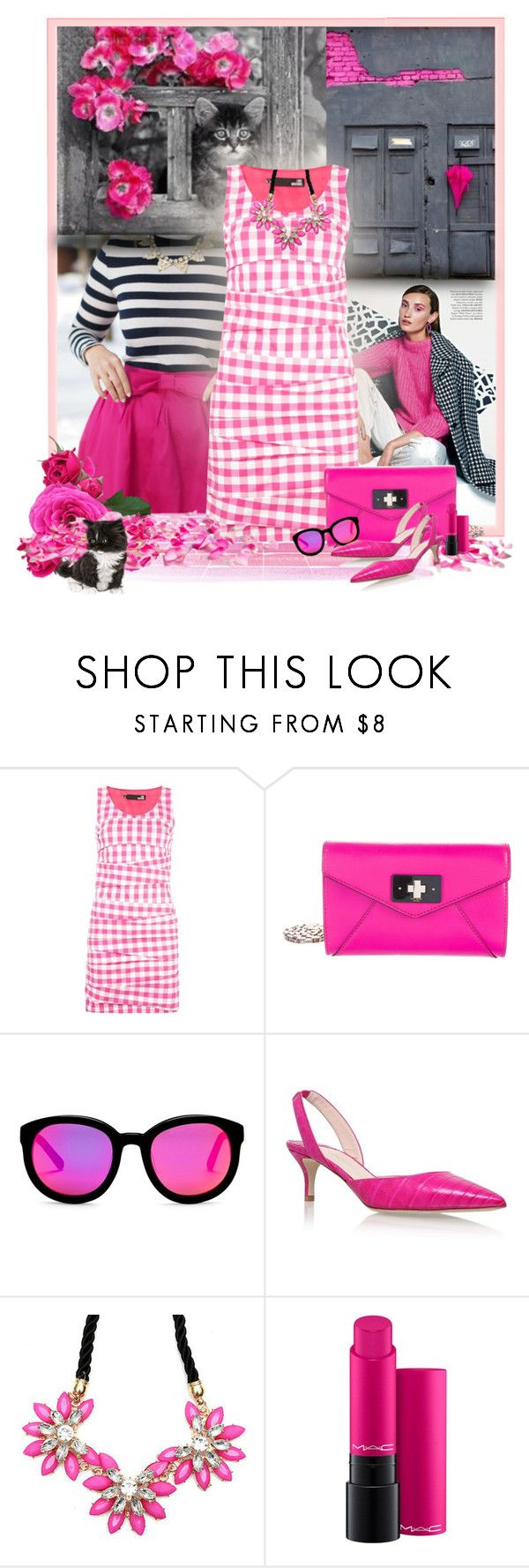 """""""Gingham Style"""" by loveroses123 ❤ liked on Polyvore featuring Love Moschino, Kate Spade, AQS by Aquaswiss, Nancy Gonzalez and MAC Cosmetics"""