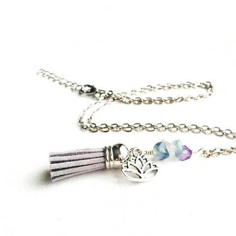 Fluorite Lotus Diffuser Tassel Necklace, Silver