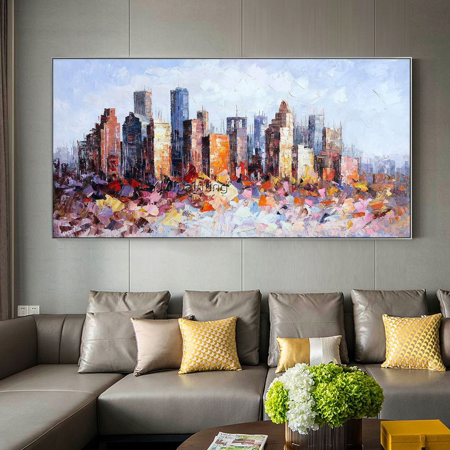Original New York Skyline oil painting On Canvas modern impasto texture cityscape Large painting wall pictures home decor cuadros abstractos