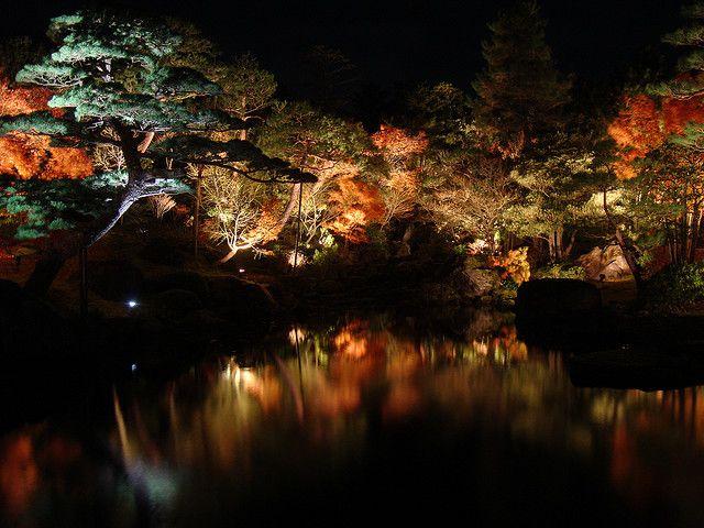 Japanese Garden At Night Japanese Garden Lighting Garden Night Lighting Landscape Lighting Kits
