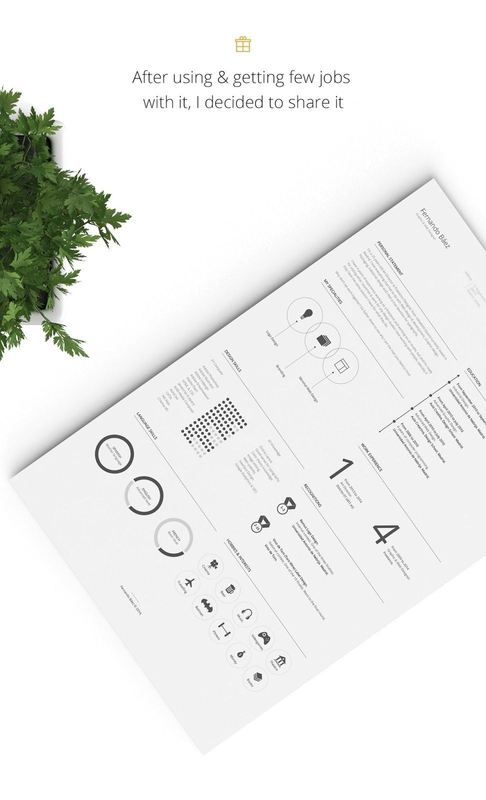 Free Design Data Download Resume PSD Template Free