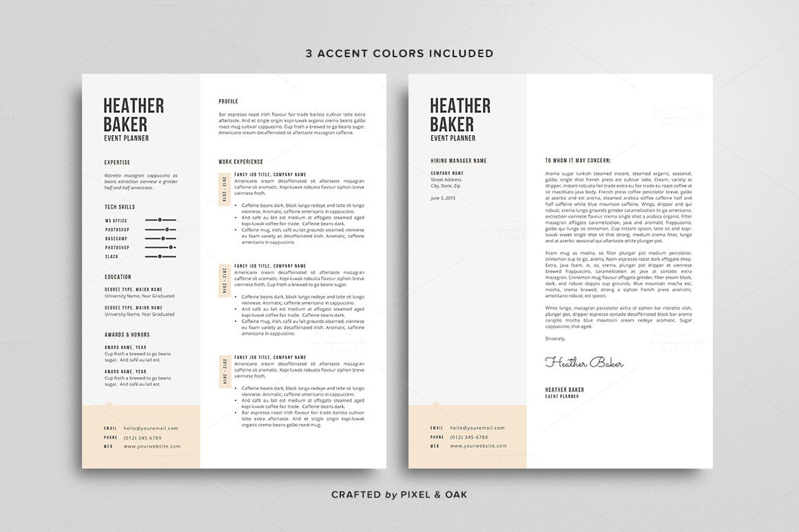 Resume Template  The Heather By Pixel  Oak On Creative Market