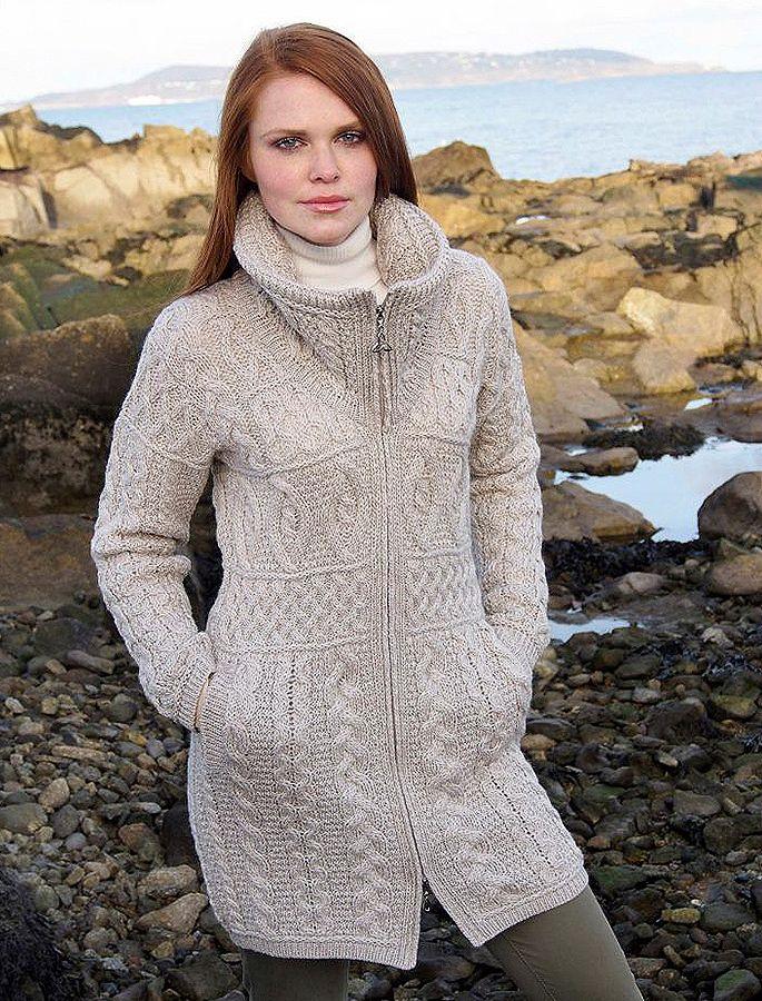 Merino wool coat, Aran cable knit coat, Ladies | Aran Sweater ...