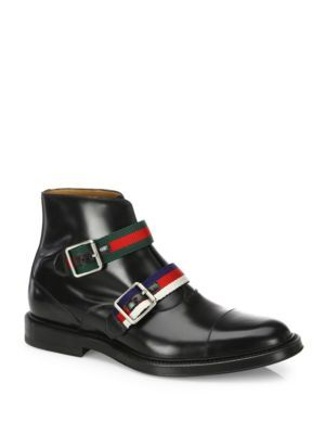 33e6ae5dad6 GUCCI Beyond Double Buckle Leather Ankle Boots.  gucci  shoes  boots ...