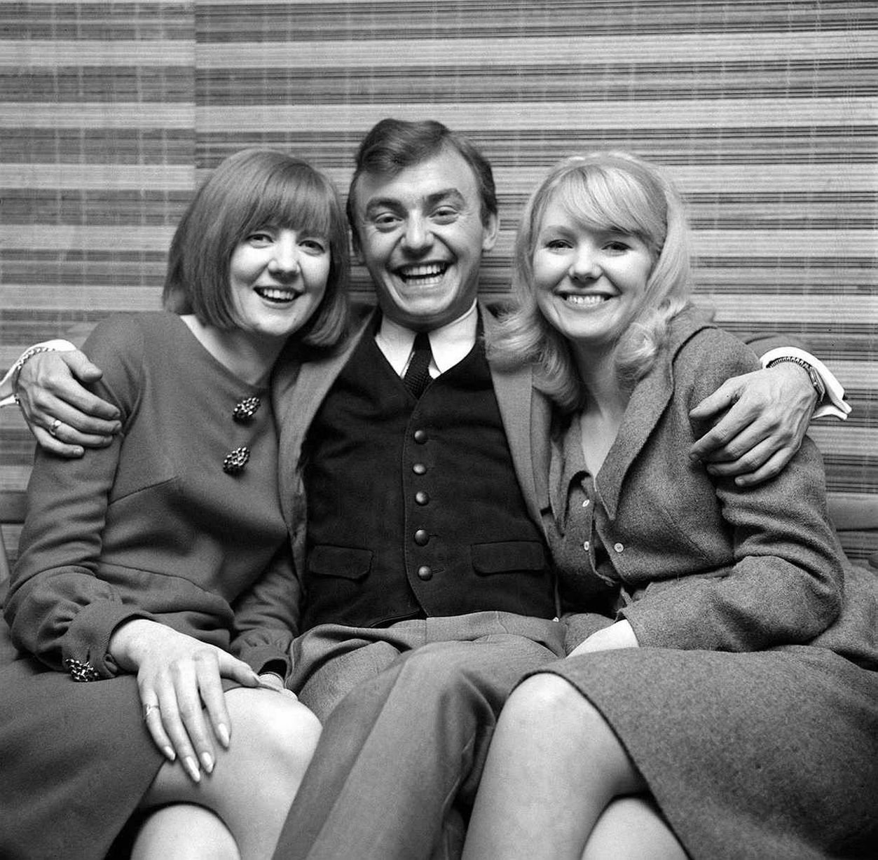 Gerry Marsden Cilla Black Julie Samuel Dec 1964. Gerry Marsden of Gerry and the Pacemakers sits with Cilla Black & Julie Samuel