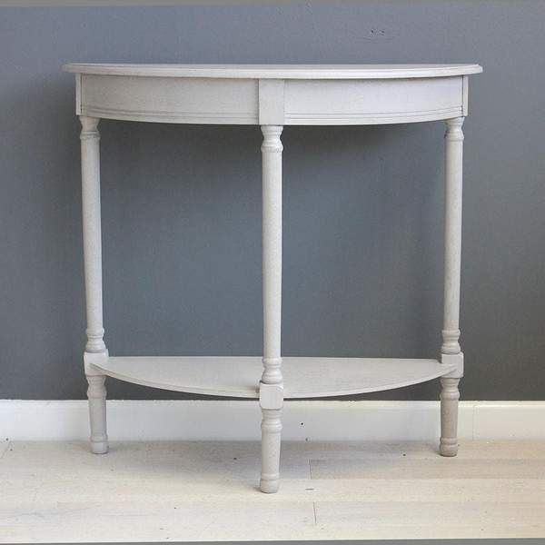 Soft Grey Half Round Console Table In