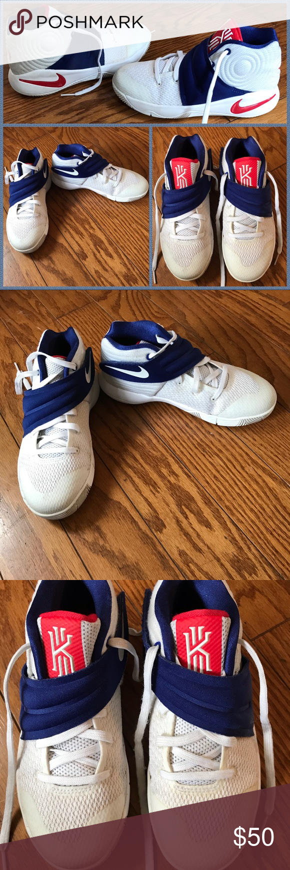 hot sales d2af3 9e87e Nike Kyrie Irving 2, 4th of July, Boys size 1y Excellent condition, Nike  Kyrie 2, White red deep royal blue. 4th of July edition. Shows very little  wear and ...