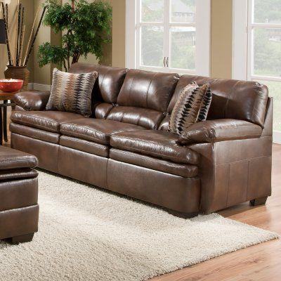 Simmons Upholstery Editor Bonded Leather Sofa Brown 9545 03
