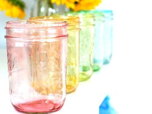 mason jars colorful