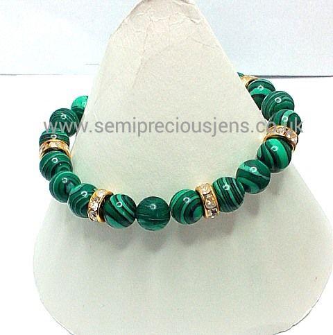 MC-GCR-B Bracelet Malachite & Gold Cased Crystal Rondelles £15.30 plus p&p